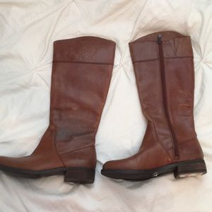 Kellini Tall Genuine Brown Leather Riding Boots
